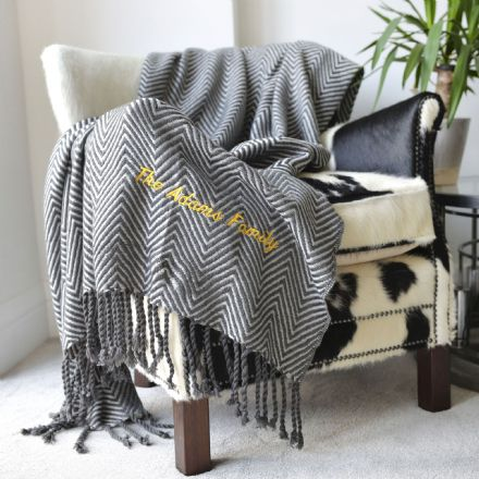 Personalised Grey Tassel Large Zig Zag Blanket